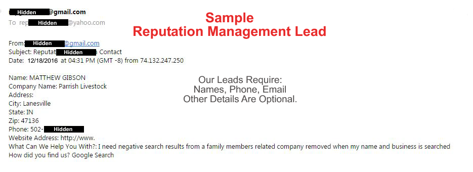 sample reputation management lead